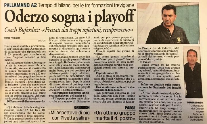A2M. Il gazzettino di Treviso di oggi 4 gennaio 2016 - Pallamano Oderzo